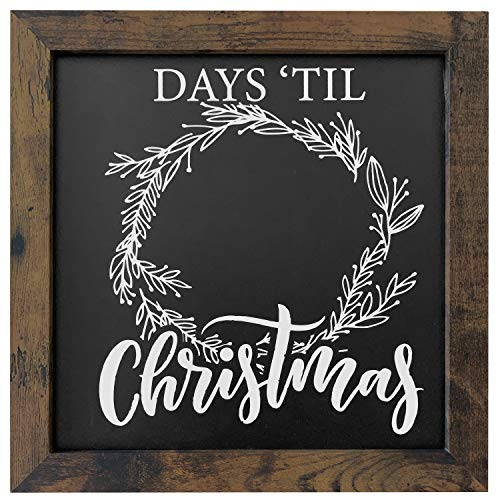 12 x 12 Rustic Framed 'Days Until Christmas' Countdown Chalkboard - Magnetic Surface - Works great with Chalk Markers and Chalk Sticks - Printed artwork- Perfect for Rustic Christmas Decor