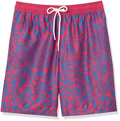 "Amazon Essentials Men's Quick-Dry 9"" Swim Trunk, Red Vintage Floral, X-Small"