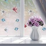 Demiawaking IT Autoadesivi del PVC Window Film Pellicola Privacy Glass Window Film Frosted Window Film per bagno camera da letto Pesci Tropicali