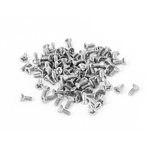 uxcell a15123100ux0455 M2x5mm Stainless Steel Phillips Flat Countersunk Head Screws Pack of 100