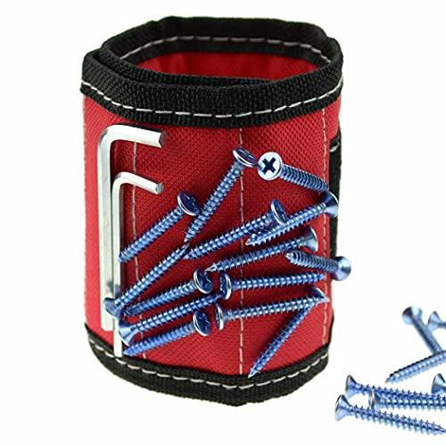 Imanes Brazalete herramienta de trabajo para sujetar tornillos, tijeras, uñas, material transpirable DIY para herramientas pequeñas para hombres y mujeres, soporte magnético de muñeca (rojo)