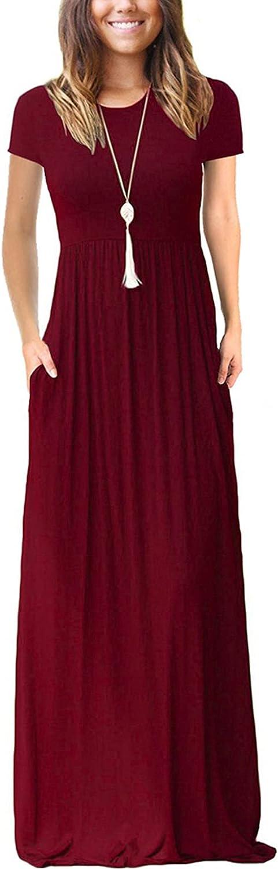 Regular dealer VIISHOW Women's Cheap sale Short Sleeve Floral Loose Dress Plain Maxi