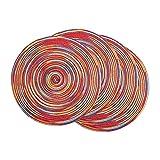 Tovagliette,Tovagliette Colazione Set di tovagliette intrecciate rotonde di 4 plastioni colorati decorativi per tavoli da pranzo Decorazioni per feste vacanze (arcobaleno-rosso) (Color : A)