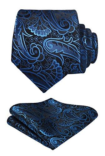 HISDERN Cravatte Floreali Paisley da sposa Fazzoletto da uomo Cravatta e fazzoletto da taschino