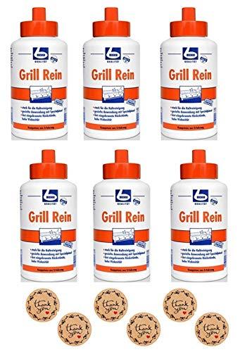 6 x Grillrein DR. BECHER Grill Rein | Grillreiniger in 1L Flasche mit Spezial - Pinsel zum gezielten Auftragen • kraftvolle und schnelle Wirkung | plus Gratis Thank You Aufkleber