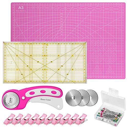 Conjunto de Corte Rotativo, Cuchilla Rotativa de 45mm con Material Auxiliar: Tablero para Corte A3, Mosaico con Reglas, 10 Pinzas para Tela, 50 Agujas y 3 Hojas de Repuesto, Color Rosa