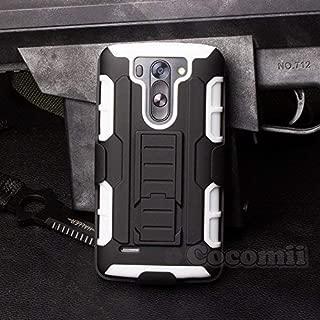 Cocomii Robot Armor LG G Vista Case New [Heavy Duty] Premium Belt Clip Holster Kickstand Shockproof Hard Bumper Shell [Military Defender] Full Body Dual Layer Rugged Cover for LG G Vista (R.White)