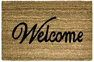 "Relaxdays Coconut Fibre Coir ""Welcome"" Doormat 40 x 60 cm Mat with Anti-Slip PVC Underside, Brown"