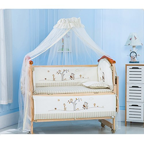 Best Prices! YBDXMM Pine Baby cot Bed, Teething Rails Mosquito net Solid Wood 3-Position Base Height...