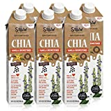 SOW - SEEDS OF WELLNESS, Chia Beverage Vanilla Unsweetened, 32 Fluid Ounce (pack of 6), 100% Plant-based, High in Omega-3, Non-Dairy Milk, Shelf Stable, Gluten-Free