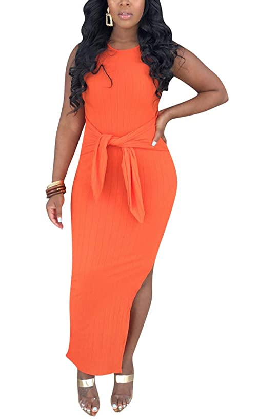 Women's Sexy Halter Sleeveless Solid Color Long Dresses Slit Evening Party Maxi Dress Plus Size with Belt