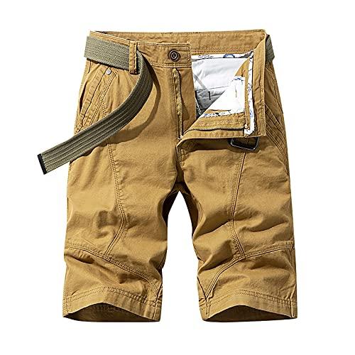 Yunweisi Herren Cargo Shorts Sommer Klassisch Bermuda Kurze Hose 100% Baumwolle Leichte Schnelltrocknend Wandershorts Stretch Slim Fit Outdoor Shorts mit 4 Taschen