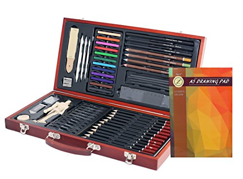 Professional Art Kit Drawing and Sketching Set 58-Piece in Wooden Box Colored Pencils, Art Kit for Kids, Teens and Adults/Gift by ZagGit