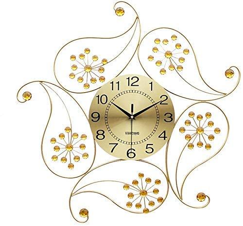 YYM Reloj de Pared de Cuarzo Oro Reloj de Pared de Diamantes de Metal Moderno Diseño Floral Arte de Pared silencioso en 3D (Color: Oro)