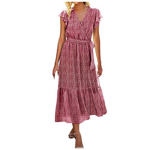 TOFOTL Damen Blumen Sommerkleid Kurzarm V-Ausschnitt Lose Knielang Kleid High Waist Midi-Hemdkleid Strandkleider Midikleid mit V-Ausschnitt und V-Ausschnitt und Gürtel(B_rot,M)