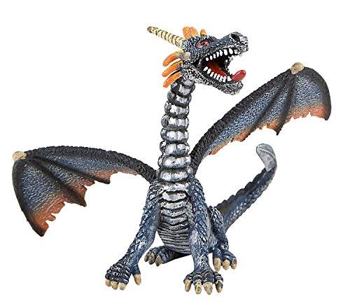 Bullyland 75594 - Spielfigur, Drache sitzend blau/silber, ca. 11 cm groß, liebevoll handbemalte Figur, PVC-frei, tolles Geschenk für Jungen und Mädchen zum fantasievollen Spielen