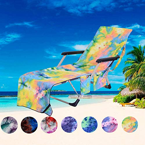 PJSNEW Lounge Chair Covers, Microfiber Beach Towel Cover with Storage Pockets for Pool Sun Lounger Hotel Garden Yellow Tie-Dye
