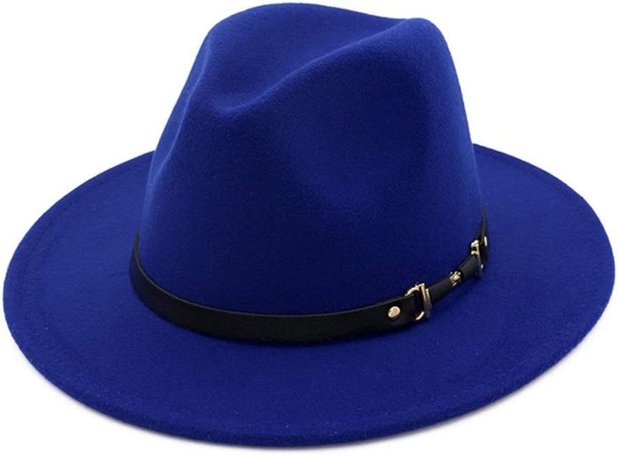 no-branded Vacation Cotton Metal Belt Belt Buckle Fedora Hat Ladies Formal Jazz Panama Hat ZRZZUS (Color : E Blue, Size : 56-58cm)