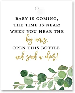 """Greenery Champagne Baby Shower Favor Tags (2"""" x 2.5"""") - 24 Count"""