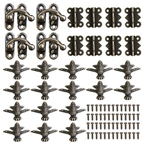 Fippy 4 juegos de protectores de esquina de madera de bronce antiguo, 16 protectores de esquina para pies decorativos + 4 cierres de pestillo + 8 bisagras antiguas con 80 tornillos