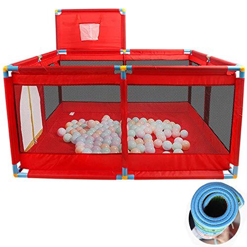 22 sq ft RojoCunas Cama De Bebe con Malla Transpirable,4 Piezas Bolas Piscina Bolas para Niños, Corralitos Portátiles, Valla Playard Play Center