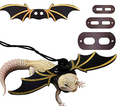STARROAD-TIM Adjustable Lizard Leash Reptile Harness Bearded Dragon Harness Leash (S M L 3PCS) with Wings for Small Medium and Large Reptile Amphibians