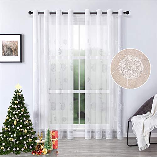 MRTREES Voile Vorhänge halbtransparent Vorhang kurz im Blumen Stickerei Modernen Wohnstil Sheer Gardinen Weiß 245×140cm (H × B) für Wohnzimmer Schlafzimmer Kinderzimmer 2er- Set