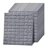 Wasait White/Grey Brick 3D Wall Panels Peel and Stick Self Adhesive Large Wallpaper for Interior Wall Decor Panels Living Room Bedroom TV Wall Decoration