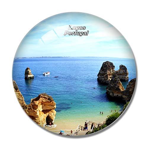 Imán para nevera 3D de Portugal Lagos Algarve para pizarra blanca con cristal de recuerdo