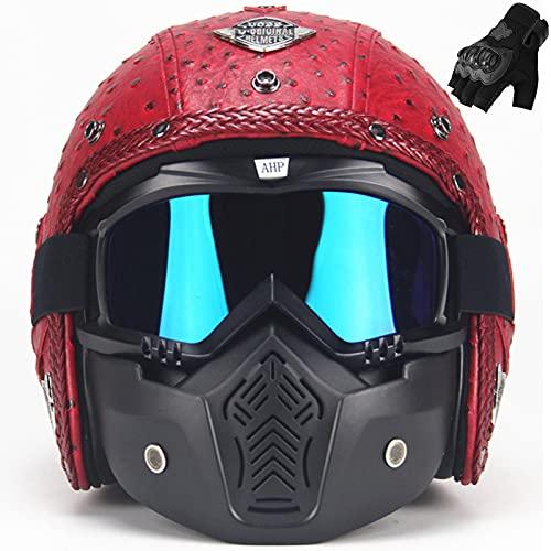 OUUUKL Casco de motocicleta de piel sintética 3/4 con gafas y máscara, ligero y transpirable para todas las estaciones mujeres hombres Street Cruiser Jet Chopper ATV
