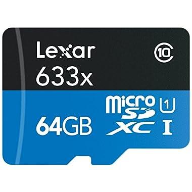 Lexar High-Performance microSDXC 633x 64GB UHS-I Card w/SD Adapter - LSDMI64GBBNL633A