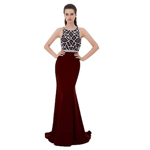 35baf04fc9 SHANGSHANGXI Luxury Formal Evening Dresses with Crystal Beaded Low Sheer  Back Long Prom Party Dress