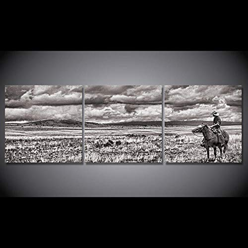 MSKJFD HD Impreso 3 Piezas Lienzo Pintura Blanco y Negro Vaquero Montar a Caballo Cuadros de Pared para Sala de Estar