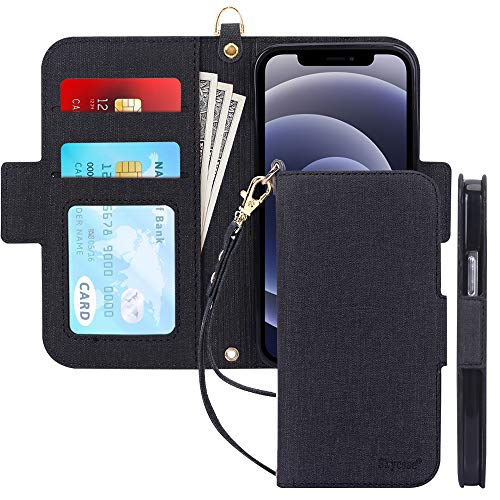 Skycase Compatible for iPhone 12 Mini Case 5G,[RFID Blocking] Handmade Flip Folio Wallet Case with Card Slots and Detachable Hand Strap for iPhone 12 Mini 5.4 inch 2020,Black