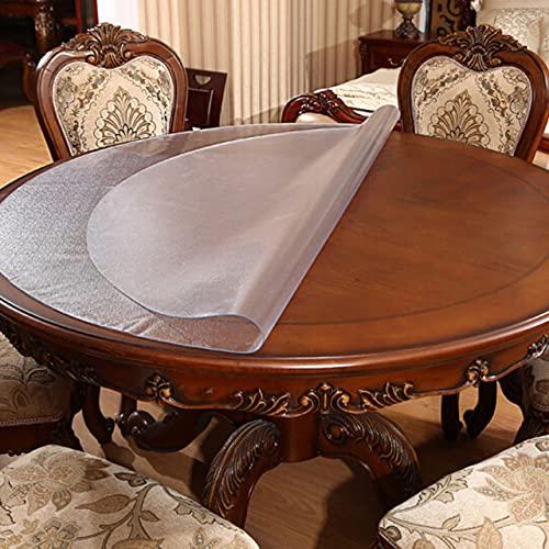 Mantel redondo transparente PVC mantel impermeable patrón de cocina mesa de aceite cubierta de vidrio paño suave tabla cubierta patrón de -Frosted, diámetro 40 cm, Federación de Rusia