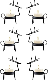 smtyle Haunted Candelabra Prop Reindeer Decorations Tealight Candle Holders Votive Standing Black Metal Set of 6 Best for Home