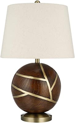 "Catalina Lighting 22103-001 Modern Round Dark Table lamp with Brass Inlay, 26"", Wood/Gold"