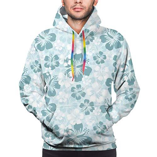Men's Hoodies 3D Print Pullover Sweatershirt,Rainforest Sea Coasts Palm Trees Happy Times Simple Monochromic Art,L