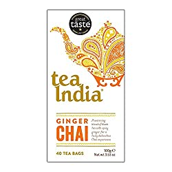 40 Tea Bags Black tea* with cinnamon, cloves and anise *Rainforest Alliance Certified Infuse in simmering milk to a delightful Ginger Chai Latte Made by Tea India the UK