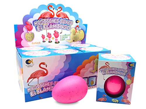 JustRean Toys XXL Flamingo schluepf ei 11 cm – Magic Growing Egg – Jumbo Flamingo schluepfei