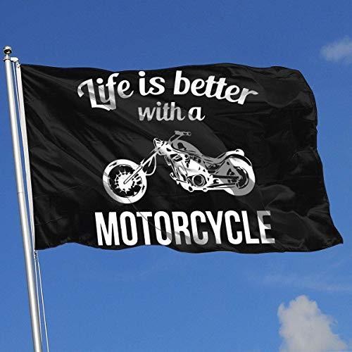 WH-CLA Blumen Flagge Das Leben Ist Besser Mit Einem Motorrad Lebendiges Banner Mit Ösen Polyester Gartenflagge Yard Flag Yard Banner House Flagge 150X90Cm Willkommen Im Freien Bunt Hübsc