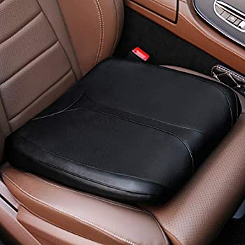 QYILAY Leather Car Memory Foam Heightening Seat Cushion for Short People Driving,Hip Coccyx/Tailbone  and Lower Back Pain Relief Butt Pillows,for Truck,SUV,Office Chair,Wheelchair,etc  Black