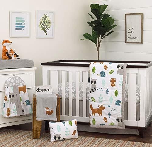 NoJo Dreamer Little Woodland Friends 8 Piece Nursery Crib Bedding Set, Grey/Tan/Aqua/White