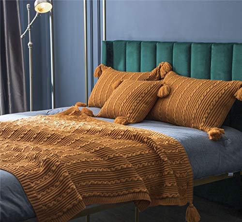 YULE Manta para siestas, para sofá nórdico, simple para oficina, chal de punto, estilo informal, para aire acondicionado, para viajes en avión, funda de almohada (color: naranja, tamaño: 130 x 160 cm)