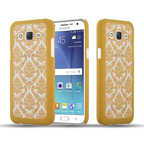 Preisvergleich Produktbild Cadorabo Hülle für Samsung Galaxy J7 2015 (5) - Hülle in Gold Hardcase Handyhülle im Mandala Design - Schutzhülle Bumper Back Case Cover