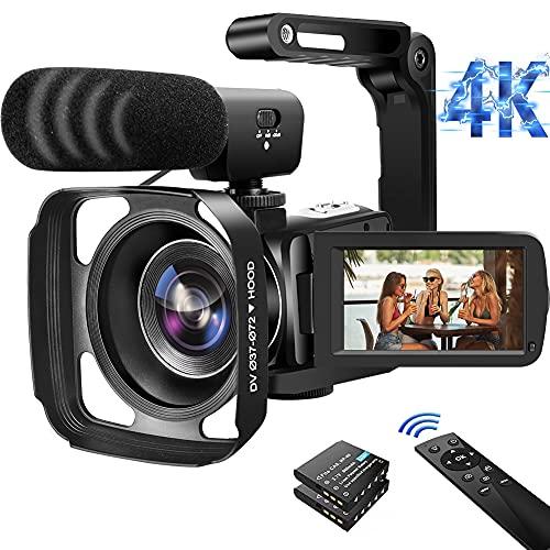 """Videokamera 4K Camcorder 56MP 18X WiFi IR Nachtsicht Vlogging Kamera für YouTube 3.0\"""" IPS Touchscreen mit Gegenlichtblende, 360° Funkfernbedienung, Handstabilisator"""