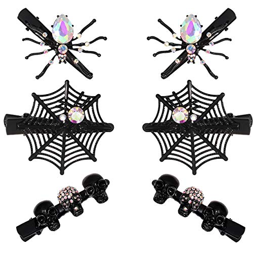 Halloween Hair Clips for Women Girls Gothic Skull Hair Clip Red Crystal Spider Web Hairpins Halloween Cosplay Costume Party Hair Accessory Gifts