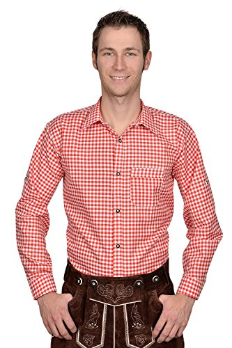 Trachten Herren Hemd rot weiß kariert Gr S