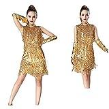 ベリーダンスドレス ハンドスリーブネックレス競争服で金属スパンコールタッセル社交サンバダンスドレス 女性ダンス衣装 (色 : ゴールド, サイズ : L)