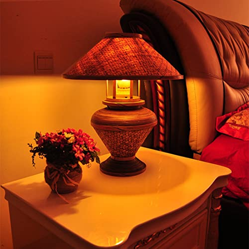 LANMOU Lámpara de Mesilla de Noche Moderna Lámpara de Mesa Dormitorio de Bambú y Ratán, Cable Con Interruptor, E27 Lámpara de Mesa Decorativa Rústico Para Salón, Hotel, Casa de Campo